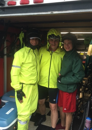 All smiles as we head out for another 120+ mile day in the rain.