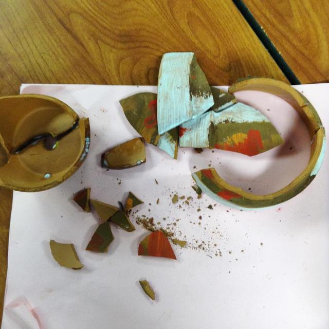 Putting together our pots like archeologists today in class woinstgramtuesday