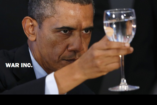 U.S. President Obama raises his glass for a toast during a luncheon at the UN General Assembly in New York