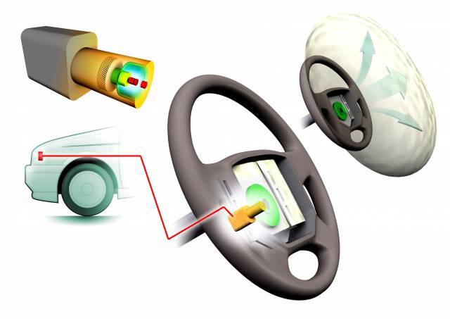 Airbag je tvořen vlastním vakem zhotoveným z polyamidové tkaniny a inflátorem - plynovým generátorem, v němž je vyvíjen plyn, kterým se vak plní. Airbag řidiče je zabudován v hlavě volantu a po nafouknutí vytvoří polštář o objemu asi 65 litrů.