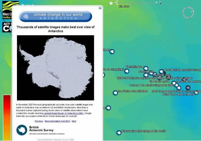 Pomocí virtuálního atlasu Google Earth lze sledovat klimatické změny na naší planetě.