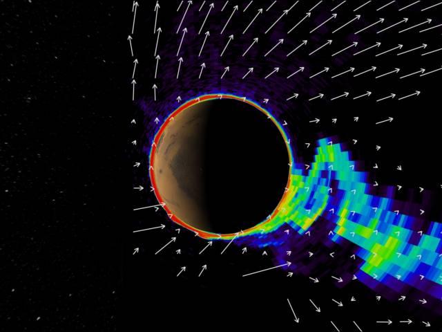 """Slunce ovlivňuje procesy ve svém okolí, sluneční soustavě, velkou řadou dílčích způsobů. Kromě toho, že ji drží ji pohromadě svou gravitací, vysílá do svého okolí i přepestrou paletu nejrůznějších záření či částic, mezi něž lze počítat i """"sluneční vítr"""". Britští vědci nedávno přišli se zjištěním, co všechno Slunce Marsu provádí."""
