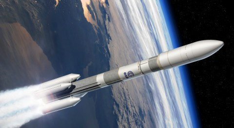 This computer image provided by the European Space Agency (ESA), Tuesday, Dec. 2, 2014, shows the Ariane 6 launcher. European governments have agreed to fund the development of Ariane 6, a next-generation rocket that will be used to launch satellites into orbit. The decision taken Tuesday at a ministerial meeting in Luxembourg comes as the European Space Agency faces increasing competition from cheaper rivals. (AP Photo/David Ducros, ESA)