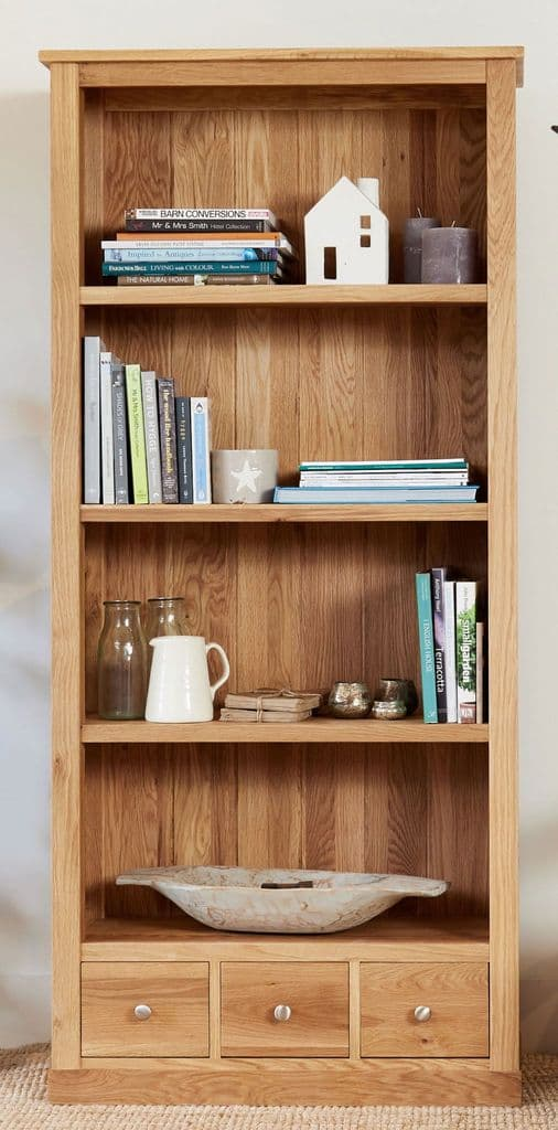 Mobel Oak Tall Bookcase with Fixed Shelves and Drawers ...
