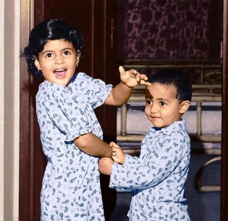 Abhishek with his sister in childhood