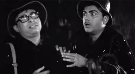 RD Burman with Mehmood in a scene at Booth Bungalow
