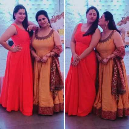 Anusha Mishra with his mother