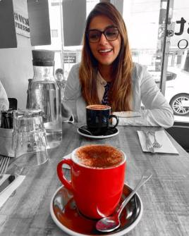Aarti Chabria with a cup of coffee