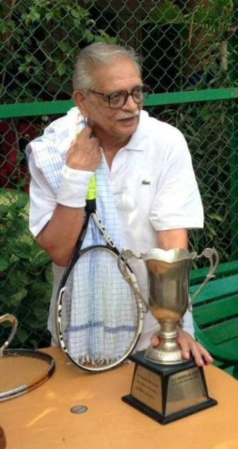 Gulzar with his Tennis Trophy