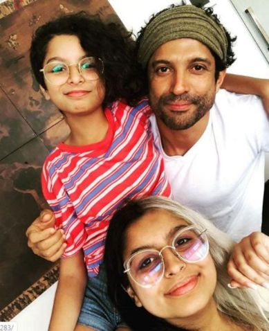 Farhan Akhtar with His Daughters
