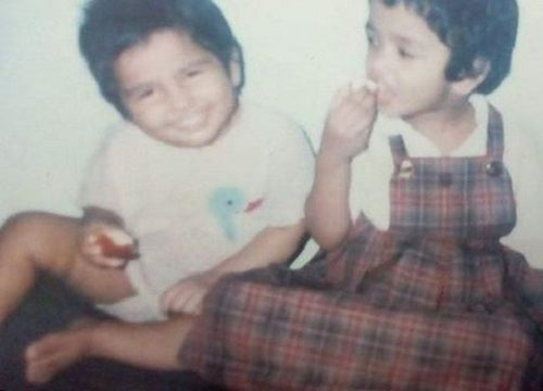 Child film of Ramya Pandian with her sister