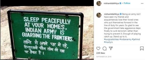 Nishant's Instagram post in which he is talking about the Indian Army