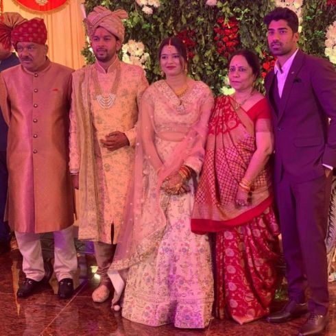 (L to R) Shashank's father, brother-in-law, Shrutika (sister), mother, and him at his sister's wedding