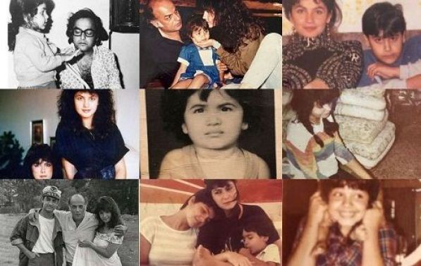 A collage of Pooja Bhatt's old pictures