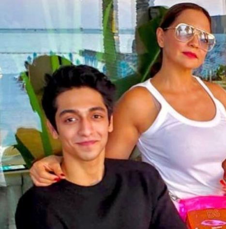 Ahaan Panday with his mother