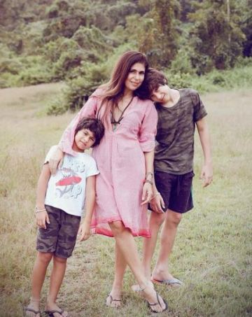 Anaita Shroff Adjania with her sons
