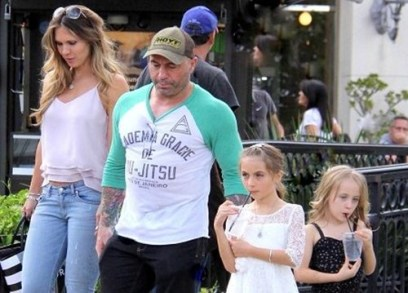 Joe Rogan with his wife, Jessica Ditzel and daughters