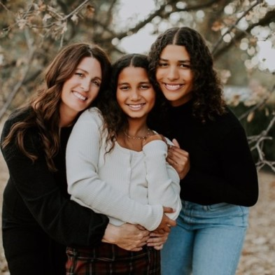 Maya Brady with her mother, and her sister