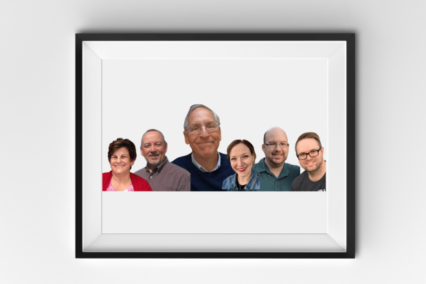 graphic shows a framed picture on a wall with a collage of all six 228Main.com employees smiling