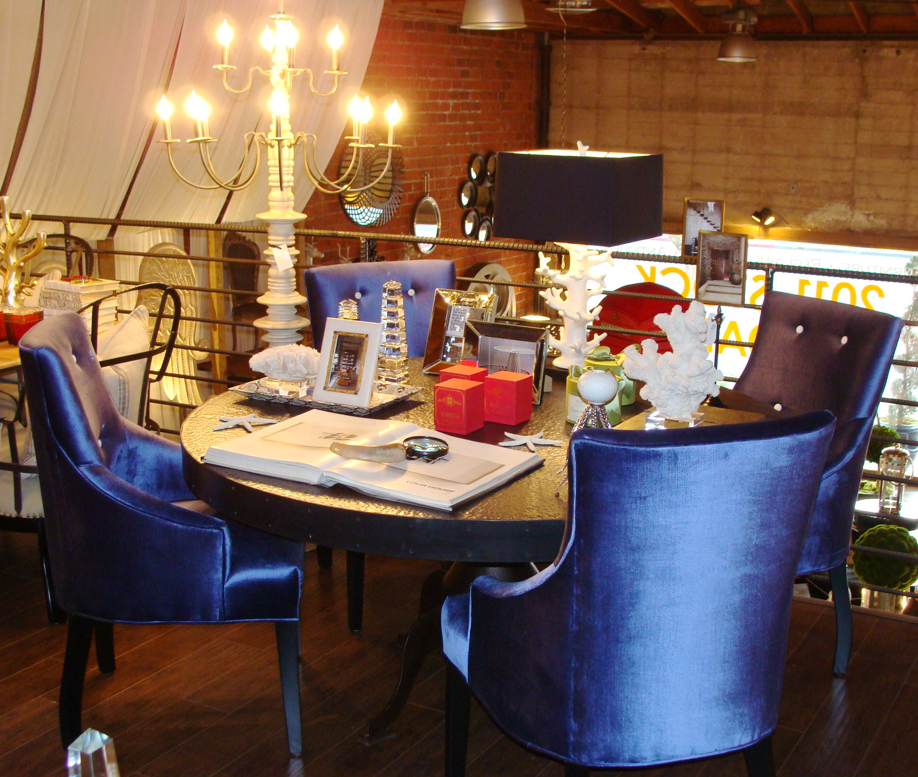Hammered Zinc Dining Table With Blue Velvet Chairs 22