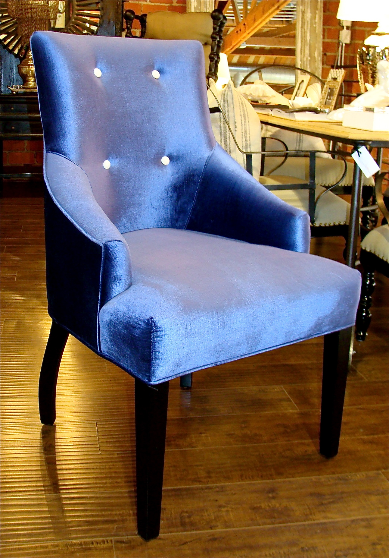 Blue Velvet Chair Blue Velvet Dining Chair With White Buttons 22 Bond St