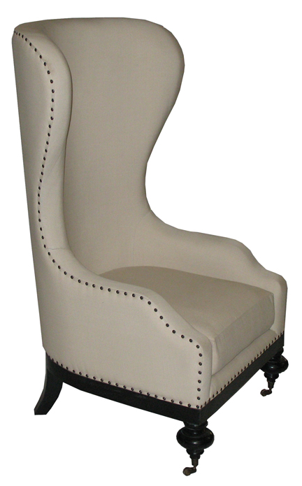 High Back Wing Chair with Casters and Nailheads  22 Bond