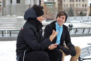 2 Male Friends chatting in winter