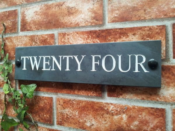 Engraved slate house name sign / address plaque 300 x 75; 11 8 inches x 3 inches