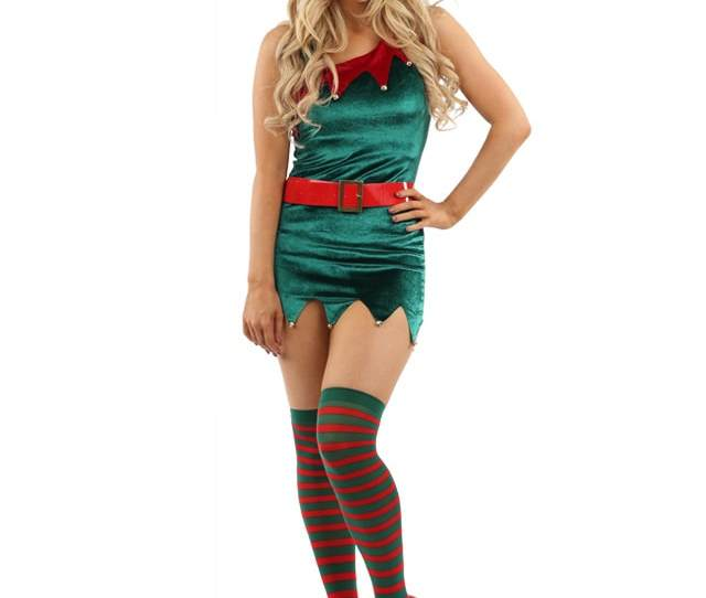 Ladies Mrs Santa Claus Elf Outfit Xmas Sexy Costume Adults