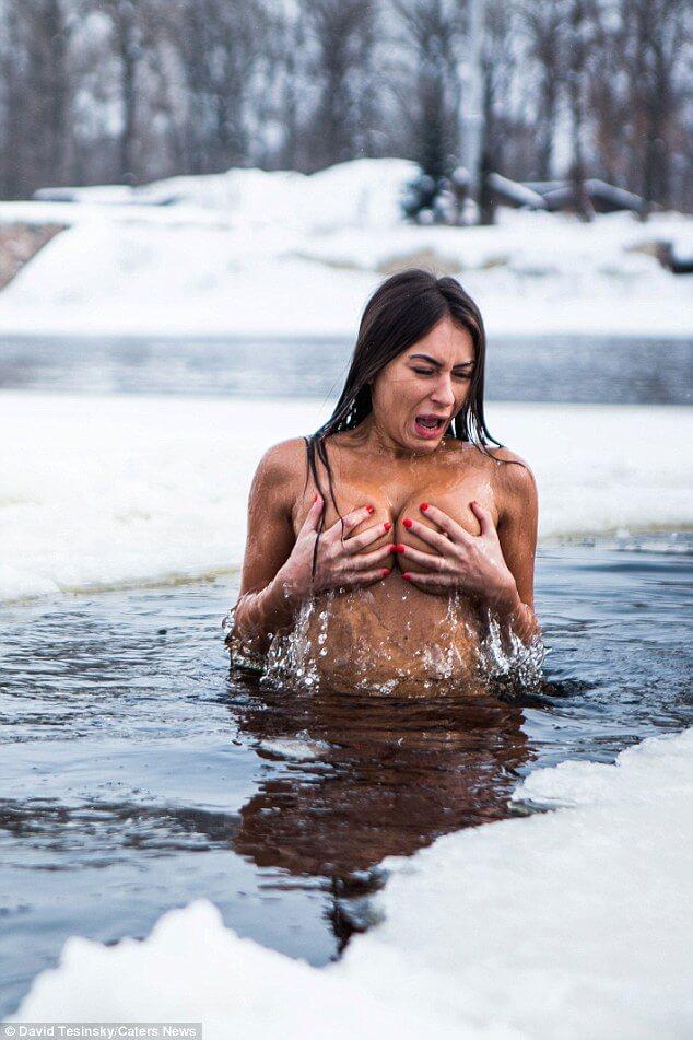 Naked girls ice water