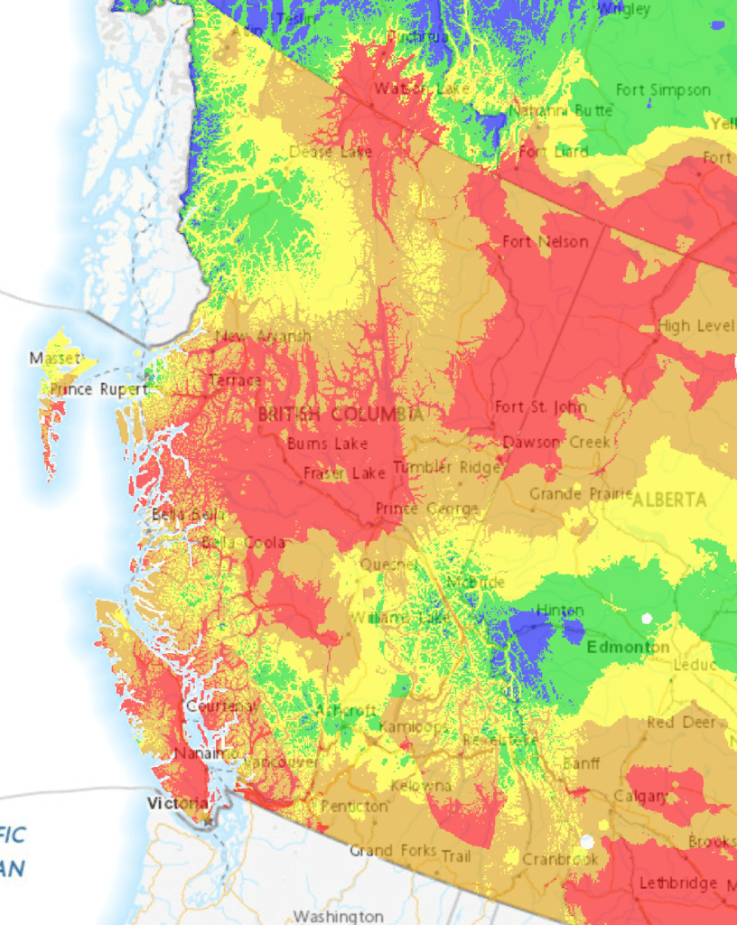 Parks affected by wildfire activity. This Interactive Map Shows The Risk Of Wildfires Across British Columbia