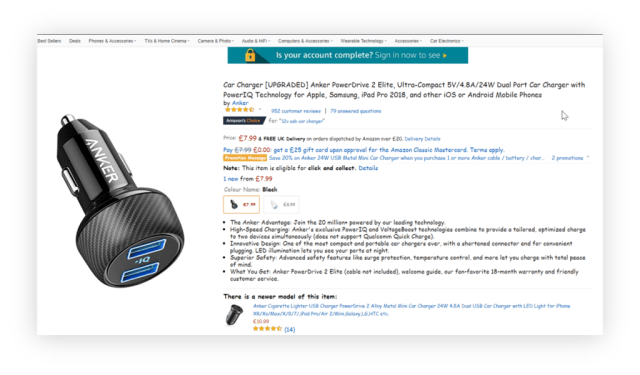 example of poor font selection on Amazon product page