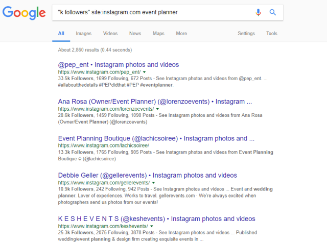 Googl e search for Instagram influencers