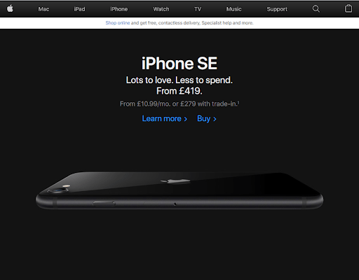 Landing page iPhone SE example