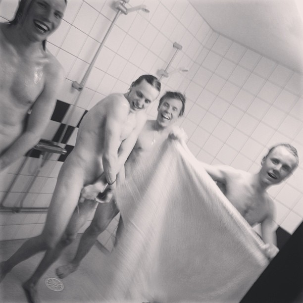 naked showering boys