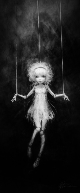 WE ARE PUPPETS<br /> BUT WHO IS OUR PUPPET MASTER?<br /> THERE IS ALWAYS SOMEONE PULLING OUR STRINGS,<br /> WHETHER THEY ARE BOSS, SPOUSE, PARENT…<br /> WHEN DO WE BREAK FREE?<br /> HOW DO BREAK FREE?<br /> IS IT ONLY IN DEATH?