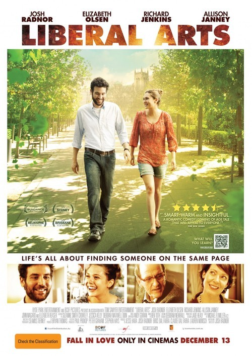 "Liberal Arts (2012)Writen, produced and directed by Josh Radnor. Starring Josh Radnor, Elizabeth Olsen, Richard Jenkins,…When 30-something Jesse returns to his alma mater for a professor's retirement party, he falls for Zibby, a college student, and is faced with a powerful attraction that springs up between them.This was a refreshing and very simple film that felt more like a moving  conversation or documentary about university, work and life. Josh Radnor did a great job writing, producing and acting in the film.  It shows you are never finished learning, whatever your age. It was very insightful and made you question the choices that you make in life. Everyone should see this, but especially if you are in university or graduated. The main character, and I too, feel at times like you sort of take for granted when you are actually in university (probably because you are so overwhelmed with the work load) to really appreciate it. When you get out you think the world will be your oyster and that you can do anything. Only to realize you are in the real world now and things might not turn out the way you  wanted it to or expect. This film makes you feel like you are not alone in this situation, that other people too are trying to figure out there next step.  Even the university professor in the film feels like this as he is trying to retire. It was so ironic that they go quite heavily into Twilight. Questioning if it is a good book or not, and how people in the world today are liking things that are ""not good.""  They casted Elizabeth Reaser who is all the Twilight films and this just added to the inside joke! I thought that was smart and funny. Zac Efron also makes an appearance as a full on hippie.I think the love story at the end sort of ruined the film, because it played into the typical Hollywood stereotype of him finding the right person at the end. Life rarely plays out this perfectly in real life;  that there is a perfect person down the street at the local independent bookstore (and how many of those are left?) It is great that he found love, but what about Elizabeth Olsen's character, what if he was her match?I liked the quote ""every place you don't leave is a prison."" That is so true. For more truth, view the film and keep turning the pages in the book of life."
