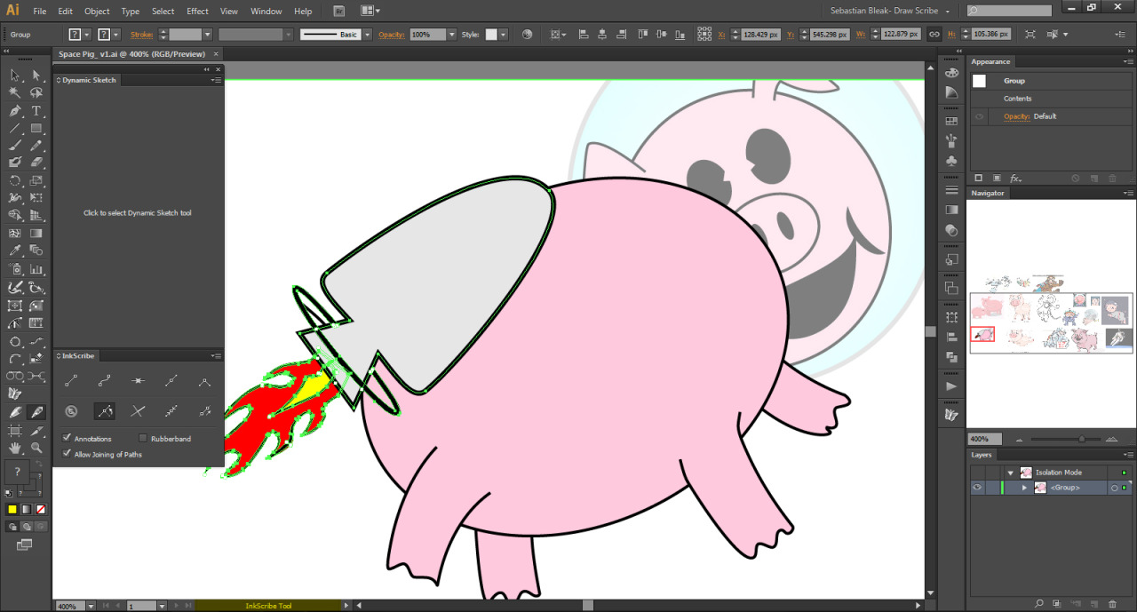 Adobe Illustrator CS6 Space Pig Drawing