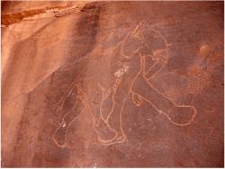 Wadi Teshuinat, Tadrart Acacus, Sahara líbio cerca de 10.000 anos atrás, essas regiões eram ricas em vegetação, e foram povoados por animais que desde então desapareceu.