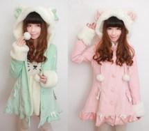 Kawaii Bow Pastel Kitty Hoodies Jacket Japanese