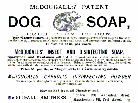 "Fleas were a major plague on nineteenth-century dog owners. In novels dogs were generally described as being bathed in carbolic soap once a week to keep the fleas at bay. In novels written from the dog's point of view, the dog would often complain that the soap smells funny or bad. Further below, the advert addresses sportsmen and huntsmen directly, suggesting that they in particular could use the soap to ""cleanse the kennels and flesh-houses, &c."" Flesh-houses seemed to refer to what we'd call a meat or butcher's shop, and is a term that was in use since the sixteenth century. This ad is from the nineteenth century. By the twentieth, I'm pretty sure the term, despite its 300+-year history, fell out of fashion. Eating ""flesh"" is so… so… clear.    It's nice when they assure you that the product is ""free from poison."""