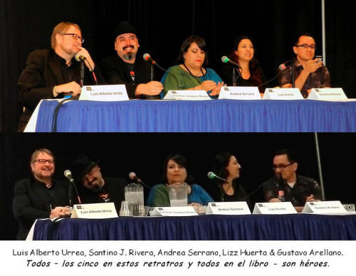 Luis Alberto Urrea, myself, Andrea J. Serrano, Lizz Huerta and Gustavo Arellano during the¡Ban This!panel live on C-SPAN at the 2013 Tucson Festival of Books.<br /><br /><br /><br /><br /><br /> Photos by Ricardo Small - more here.