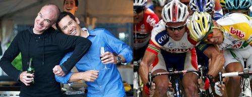 Stuart O'Grady & Robbie McEwen reenact their ding dong at a Tour de France stage finish a number of years ago over a beer.