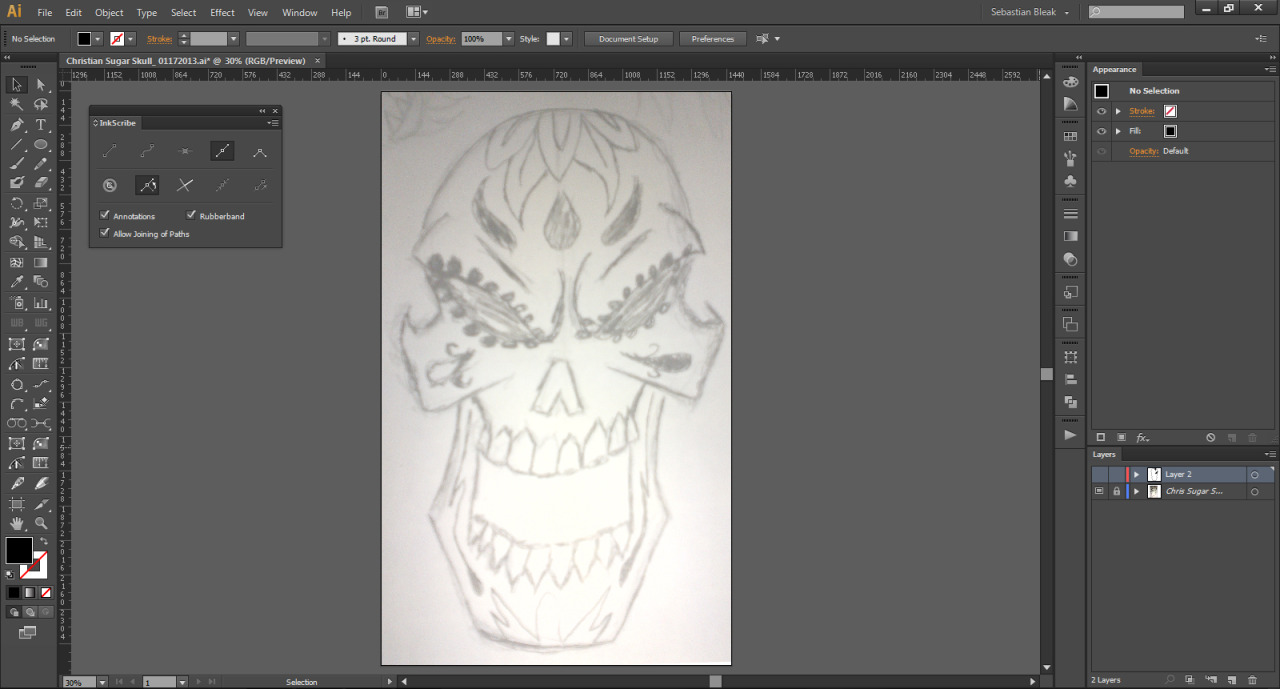 Sketch of a sugar skull