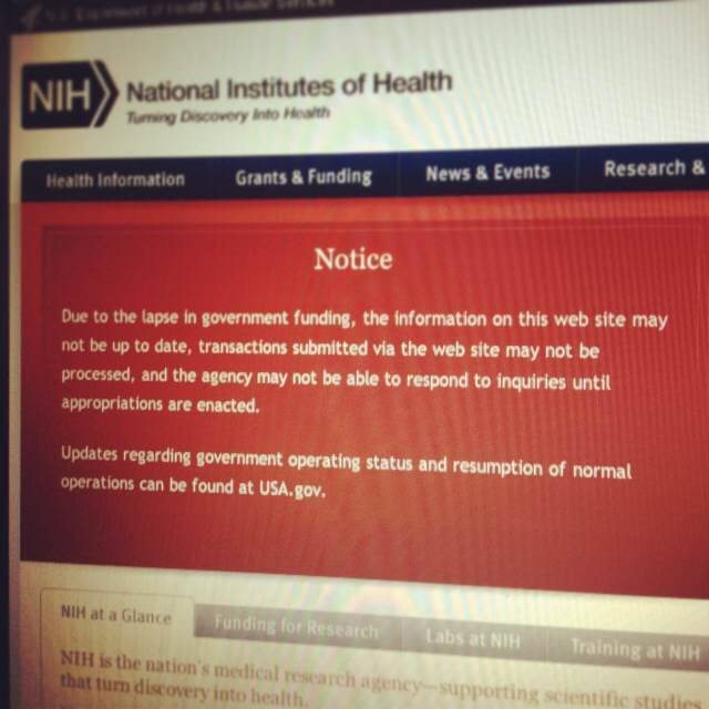 NIH home page government shutdown