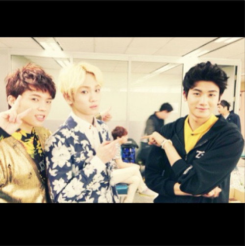 """congratulations namu!! from hyungsik &bumkey (guess who is that boy behind us )"" -key"