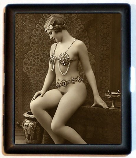 giftvintage:  Cleopatra Egyptian Revival Style Nude Flapper Jazz Age Roaring 20s Style Eight  Cleopatra. Armored bras had been invented, but panties didn't come along until the Middle Ages.