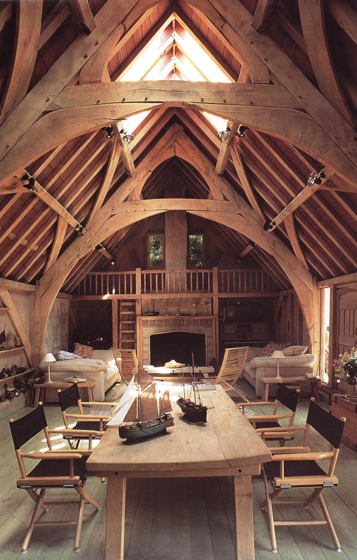 "The ""Seagull House"" in Devon, England. It was converted from a barn in 1987 and designed by architect Roderick James who founded Carpenter Oak where you can see more pictures of the oak framed house."