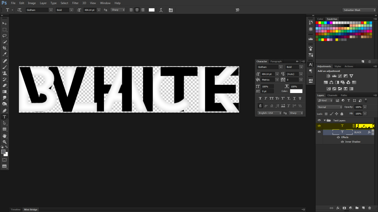 Layer mask on text in Photoshop