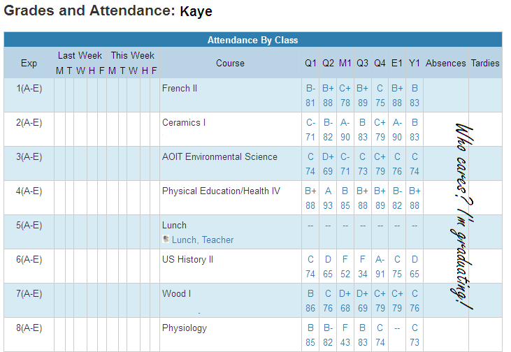 Kaye's Grades and Attendance